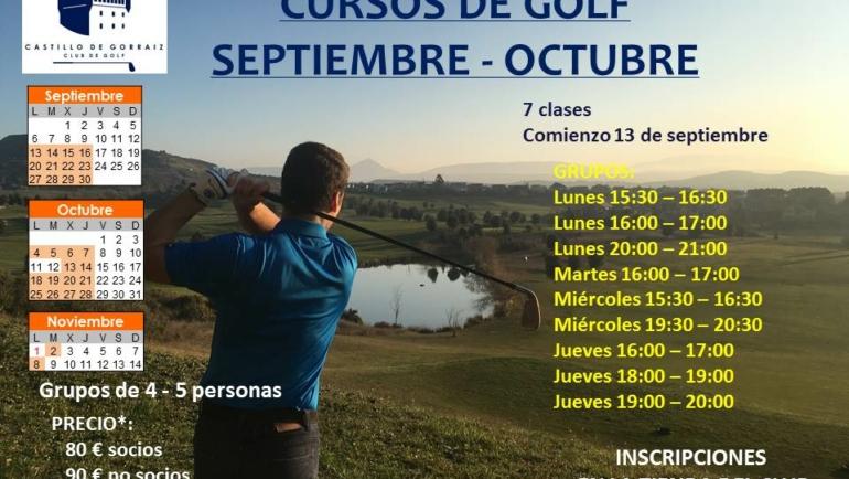 Cursos Golf Adultos Septiembre-Octubre